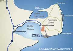 Mapa de la zona de Valdés