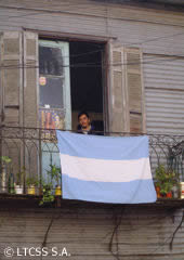 Argentine flag hanging from a balcony