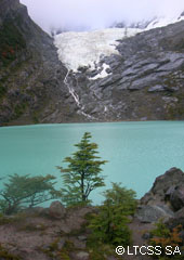 Lagoon of the desert and Huemul Glacier