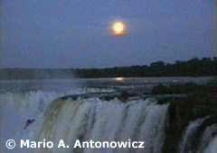 Waterfalls under a Full Moon