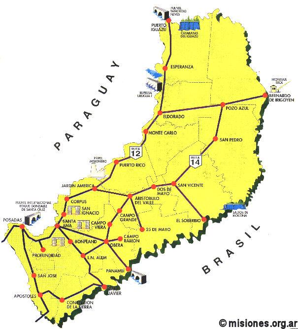 Jesuit Missions Route Iguassu PATAGONIAARGENTINACOM - Argentina misiones map