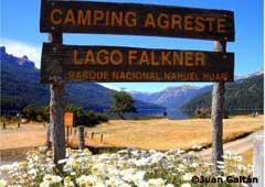 Acceso al camping Lago Falkner - Camino de los 7 Lagos