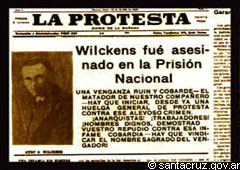Proletarian newspaper informs about the homicide of Wilckens