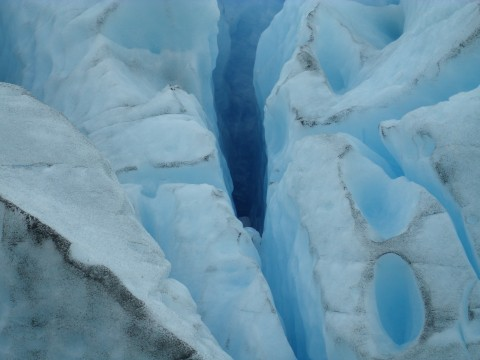 Cracks and sinks over Perito Moreno Glacier