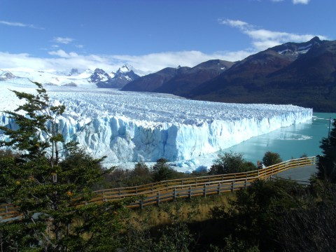 A panoramic view of Perito Moreno Glacier from one of the many catwalks available