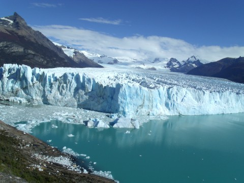 A panoramic view of the Perito Moreno Glacier from the walkways