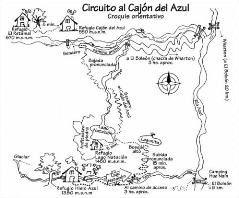 Map of  Cajón del Azul circuit - senderospatagonia.com.ar